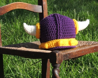 Minnesota Vikings Helmet Crochet Hat for Baby, Child or Adult - MADE to ORDER