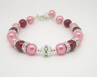 Pearl Rhinestone Bracelet, Red Pearl Jewellery, Pink Pearl Bracelet, Wedding Jewellery