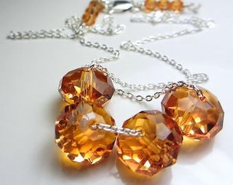 Swarovski Topaz Necklace Beaded Chain Necklace Amber Necklace Sterling Silver Golden Topaz Sunny Necklace Exotic Orange Crystal Necklace