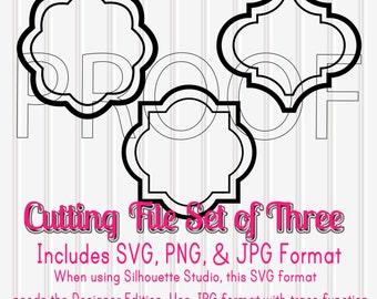 SVG Files Set of 3 Shapes-SVG PNG jpg all included-Cut Files Commercial Use Ok! frame svg monogram svg quatrefoil svg
