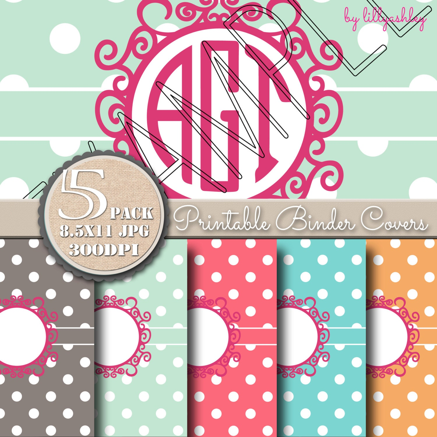 8.5x11 Printable Dots Binder Covers Pack Of 5-JPG Format Not