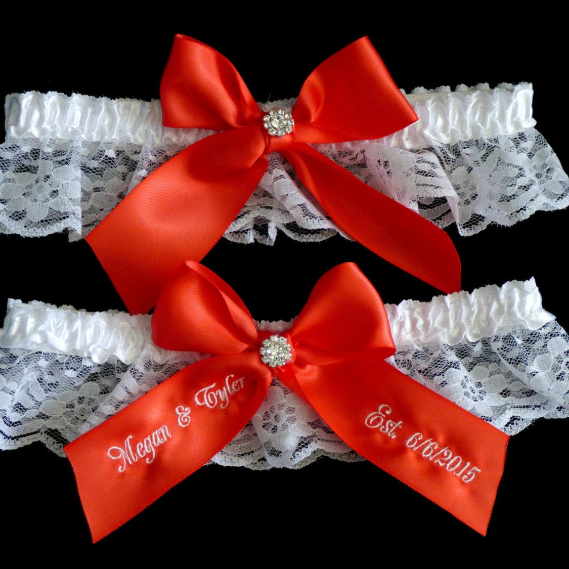 Personalized Garter Dark Coral Garter Bridal Garter Wedding