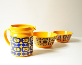 Set of 3 Vintage Waechtersbach Ceramics - Pitcher & Bowls - West German Pottery - Bright Orange - Yellow