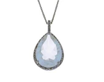 8.6 Carat White Quartz & Diamond Pear Pendant .925 Sterling Silver
