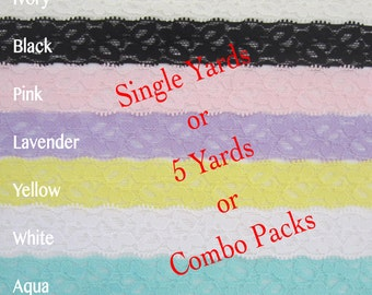 Single yards/Combo STRETCH LACE - CHOOSE colors - Elastic Lace, stretch lace, baby headband, wedding, quality lace, hair craft supply