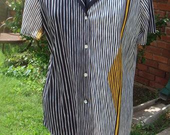 Vintage  VERA Neumann Blouse Shirt 16 Medium Black Yellow White stripe