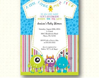 Baby Shower Invitation, boy, girl, monster, gender reveal, colorful, little monster baby, digital, printable invite B4021