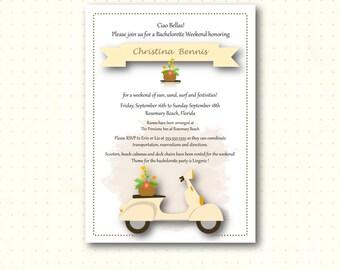 Bachelorette Shower Invitation, weekend getaway, bridal shower, beach bridal shower, modern, digital, printable, invite, BW1471