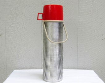 Vintage Aluminum Thermos, Large Red Plastic and Aluminum Ribbed Hot & Cold Thermos Brand Flask Carafe, Model 2484, Circa 1970s.