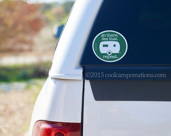 Go there. See that. Repeat. 4 inch round vinyl sticker