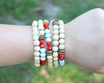 The Maya - Wood Red and Baby Blue -  Layering Necklace and Bracelet