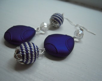 Beautiful asymetric navy earrings