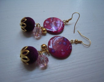 items similar to pink shell earrings on etsy