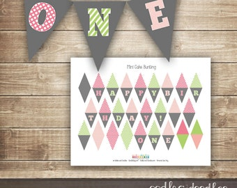 Mini Cake Bunting, Pink and Lime Green, First Birthday Cake Decorations, Printable Cake Banner, ONE Girl's 1st Birthday Party - Printable