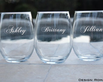 7 Stemless Wine Glasses, Personalized Maid of Honor Gifts, Wedding Toasting Glasses, Stemless Wine Glass, Gift for Maid of Honor