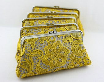 Mustard Wedding Lace Clutches / Custom Lace Wedding Clutches / Elegant Bridal Clutch Set - Set of 6