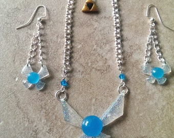 Glowing Navi necklace and earring set