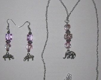 Pink Elephant Necklace & Earrings