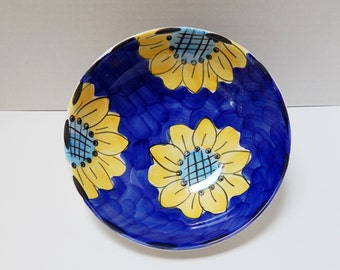Vintage Sunflower Yellow and Blue Bowl, Serving Bowl
