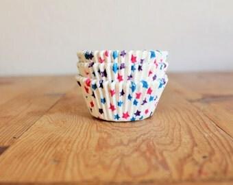 Pink, Blue & Purple Stars Cupcake Liners- (25)