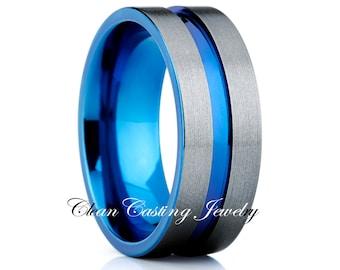 Titanium Wedding Band,Blue Titanium Ring,Engagement Band,Anniversary Ring,Handmade,Comfort Fit,Brushed Polish,Titanium Ring,Handmade,Grooved
