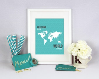 Welcome To The World Nursery Print, Travel Nursery Decor, Travel Nursery Print, Around The World, Baby Shower Gift, INSTANT DOWNLOAD