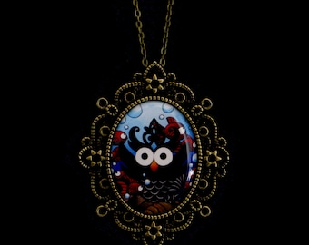 Water Owl Cameo Necklace