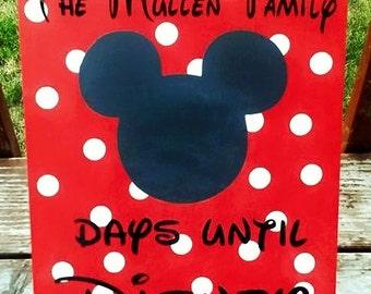 Disney wood sign, Disney Countdown, Chalkboard, Disney Vacation, Disneyland, Disney World, Days Until Disney, Mickey