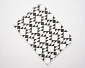 Organic Cotton Baby Burp Cloth Modern Navajo Inspired Geometric Black and White Triangles