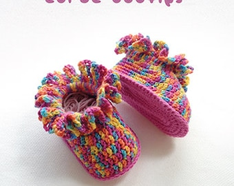 Crochet Pattern - Ruffled Coral Baby Booties Newborn Boots Preemie Shoes Crochet Pattern (CB03-M-PAT)