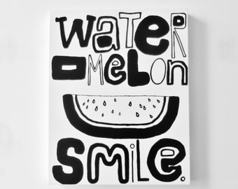 WatERMeLoN SMiLe. 16 X 20 inch Canvas Painting Smile Painting Smile Art Happy Painting Modern Fine Art Black and White Painting LYNDA BLACK