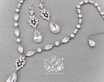 Wedding Necklace Earrings Zirconia pendant Rhinestone Necklace Earrings Wedding Jewelry set Wedding Accessory Bridal Necklace Earrings Mix