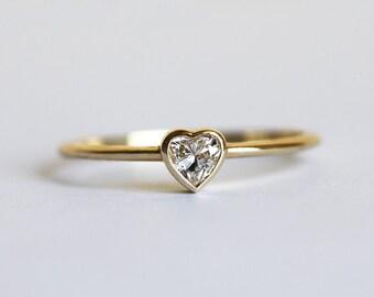 Heart Diamond Ring, Diamond Engagement Ring, Diamond Heart Ring, 18k  Solid Gold