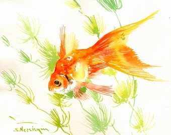 Goldfish art, Original watercolor painting, 8 X 10 in, children room art, nursery, orange, pet fish, goldfish looer, aquarium