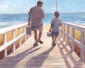 Father and Son - Go Fishing Art Print of Watercolor Painting - beach, ocean, nautical