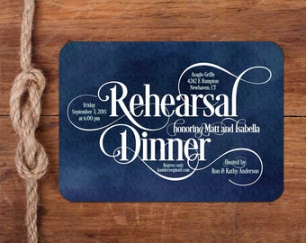 Scripted Details Rehearsal Dinner Invitation, typography