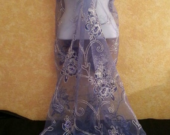Sexy Cobalt Blue & Silver Embroidered Sequined Lace Sweetheart Neckline Sheath Party Evening Club Cruise Wedding Bridal Gown Costume