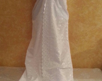 White Rose Cotton Eyelet Embroidered Bohemian Garden Beach Sheath Party Evening Club Cruise Wedding Bridal Gown Costume
