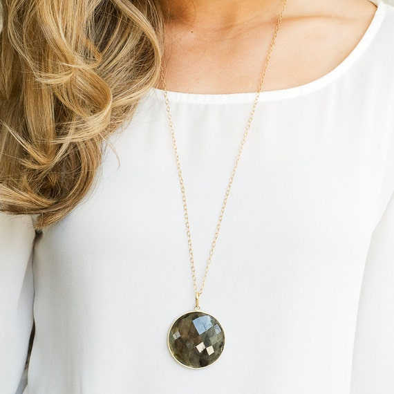 Long Labradorite Necklace, Gold Labradorite, 14k Gold Filled Chain, Dew Drop Chain, Long Gold Necklace, Labradorite Pendant