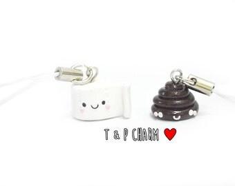BFF Charm, Poop and Tissue charm, Kawaii Charm, Poop Charm, Clay Charm, BFF Gift, Kawaii Charms, Toilet Paper Charm, Polymer Clay Charms