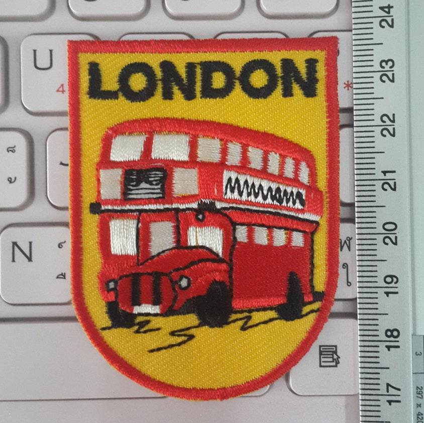 London bus iron on patch double decker applique