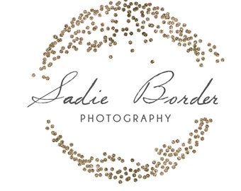 Premade Gold Glitter Circle Confetti Logo - Photography logo - Instant Download - Photoshop Template - PSD file - photography watermark