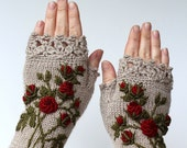 Knitted Fingerless Gloves, Roses, Beige, Clothing And Accessories, Gloves & Mittens, Gift Ideas, For Her, Winter Accessories, Accessories
