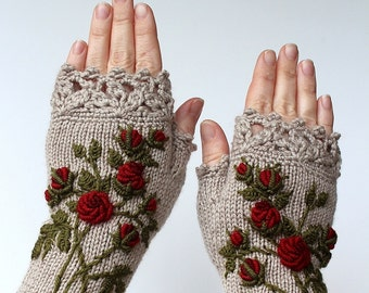 SMALL size, Knitted Fingerless Gloves, Roses, Beige, Clothing And Accessories, Gloves & Mittens, Gift Ideas, For Her, READY to SHIP