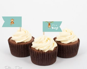 Printable monkey cupcake flags Dessert flags lt's A Boy cupcake flags Baby shower decorations Instant download