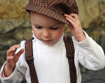 Boys newsboy hat Infant newsboy cap Boys brown flat hat Toddler boy hat Baby boy hat Little boy hat Ring bearer outfit Baby shower gift boy