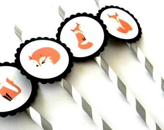 12 Fox Party Straws, First Birthday, Fox Theme, Fox Birthday, Fox Party, Woodland Party, Fox Straws, Stripe Straws, Woodland Birthday, Party
