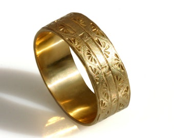 14k solid gold wedding band ,Art Deco wide Wedding Band, Art Deco engravings men's wedding ring, gold band, hand engraved patterned men band
