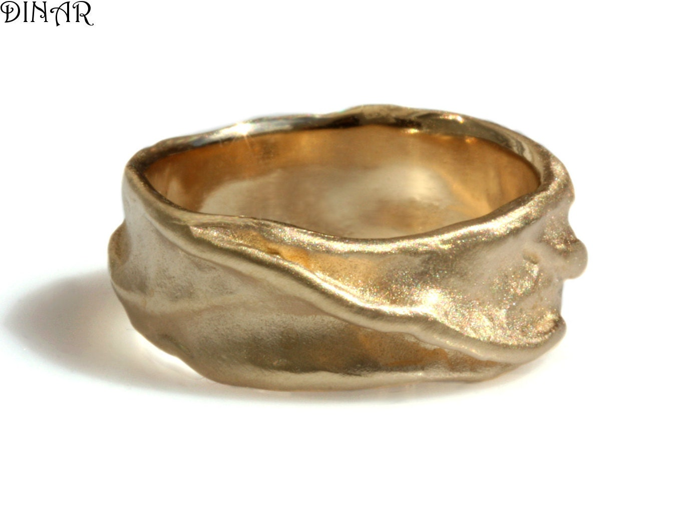 14k solid gold wedding band gold band thick band folded