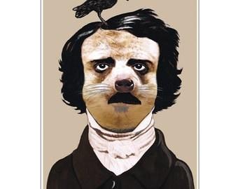 Edgar Allan Poe, The Raven, Nevermore, Gothic, Portrait, Art Print, Poster size, Gothic Art, Dorm Decor, Celebrity Portrait, meerkat